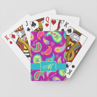 Magenta Purple Turquoise Modern Paisley Monogram Playing Cards