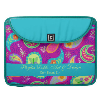 Magenta Purple Turquoise Modern Paisley Pattern Sleeve For MacBooks
