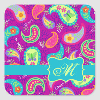 Magenta Purple Turquoise Modern Paisley Pattern Square Sticker