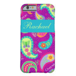 Magenta Purple Turquoise Paisley Personalized Name Barely There iPhone 6 Case