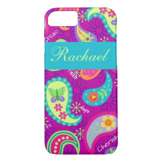 Magenta Purple Turquoise Paisley Personalized Name iPhone 7 Case