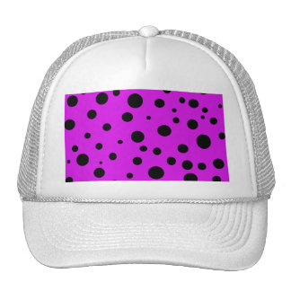 Magenta Purple with Black Polka Dots Products Trucker Hat