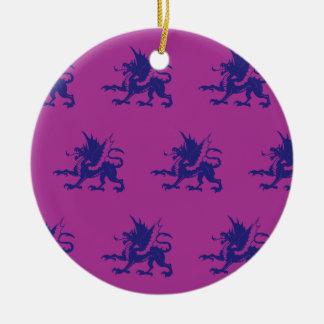 Magenta púrpura de los dragones adornos de navidad