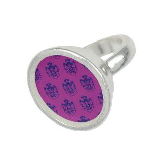 Magenta púrpura del escudo de la familia anillo con foto