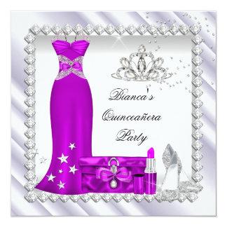 Magenta Quinceanera 15th Tiara Birthday Party Announcement