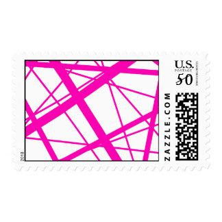 Magenta Random Stripes Postage
