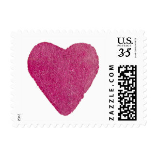 Magenta Red Watercolor Heart Postage