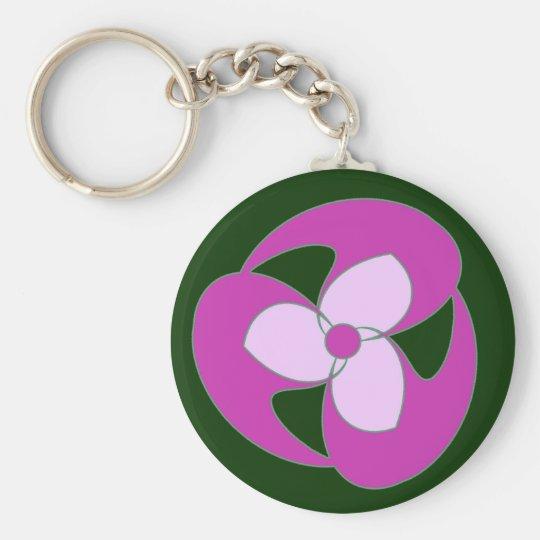Magenta Retro Crescent Spiral Flower Key Chain