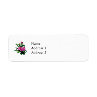 Magenta Rhododendrons With Buds Label