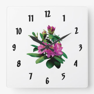 Magenta Rhododendrons With Buds Square Wall Clock