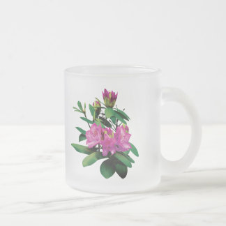 Magenta Rhododendronswith Buds 10 Oz Frosted Glass Coffee Mug