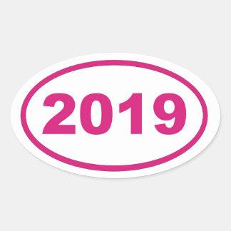 magenta rosada 2019 pegatina ovalada