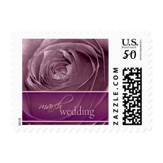 Magenta Rose March Wedding-Small Postage