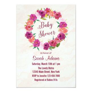 Magenta Roses Baby Shower Invitation