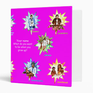 Magenta school binder w Professionals as Cartoons