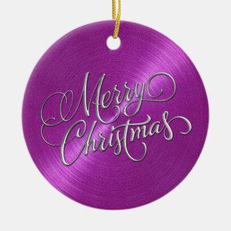 Magenta Sheen and Silver Merry Christmas Ceramic Ornament