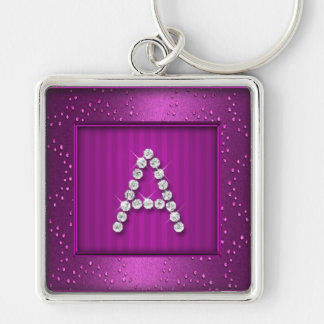 Magenta Shimmer and Sparkle with Monogram Keychain