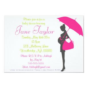 Pregnant silhouette invitations zazzle magenta silhouette baby shower invitations filmwisefo