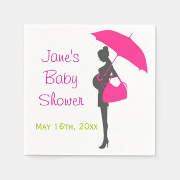 Toddler & Baby themed Magenta Silhouette Baby Shower Napkins