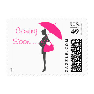 Magenta Silhouette Baby Shower Stamps