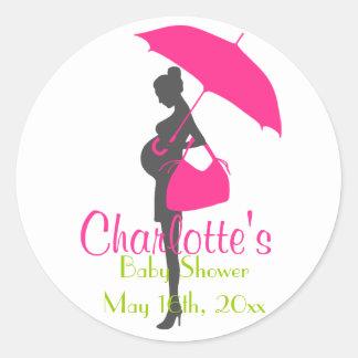 Magenta Silhouette Baby Shower Stickers