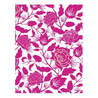 Magenta silhouette flowers pattern postcard