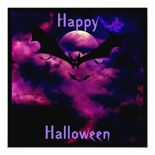 Magenta Sky Bats  Halloween Party Invitation