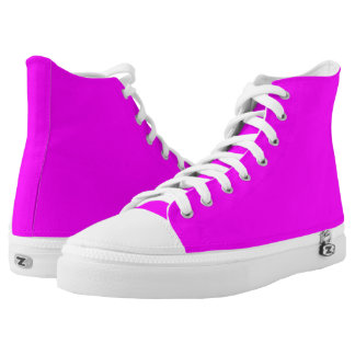 Magenta Solid Color High-Top Sneakers