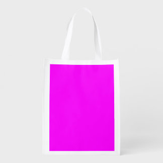 Magenta Solid Color Reusable Grocery Bag