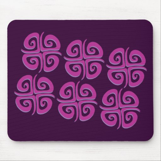 Magenta Spiral Crosses Mouse Pad