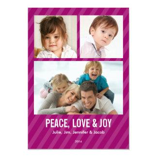 Magenta Stripes Triple Photo Holiday Card Custom Invitations