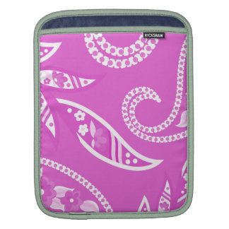 Magenta Stylized Flowers Sleeves For iPads