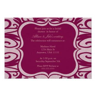 Magenta Swirl Emblem Bridal Shower Invitation