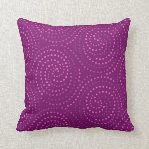 Magenta Swirls Throw Pillow