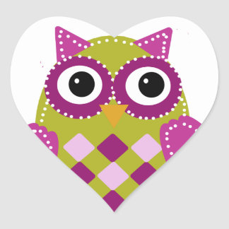 Magenta the Adorable Owl Heart Sticker