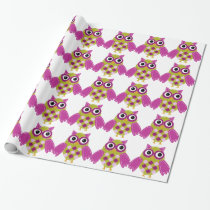 Magenta the Adorable Owl Wrapping Paper