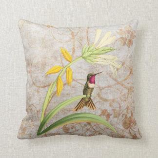Magenta Throated Hummingbird Vintage Grunge Pillow