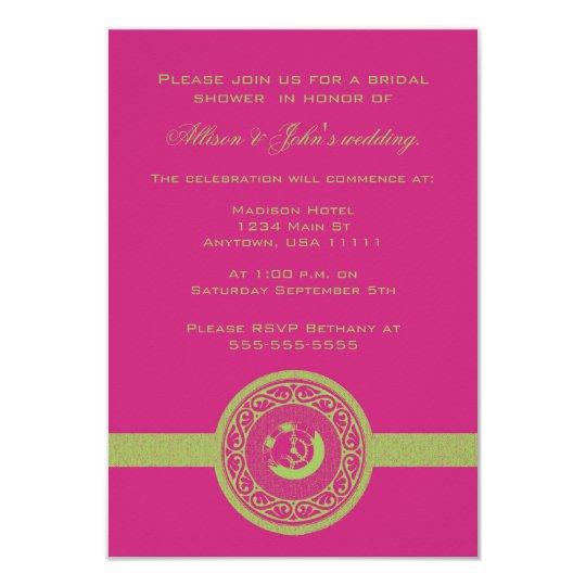 Magenta Time Medallion Bridal Shower Invitation