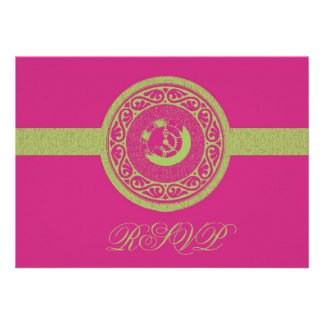 Magenta Time Medallion RSVP Card Announcements