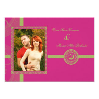Magenta Time Medallion Wedding Invitation