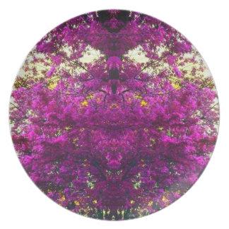 Magenta Tree Abstract Pop Art Photo Wall Decor Dinner Plates