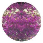 Magenta Tree Abstract Pop Art Photo Wall Decor Party Plates