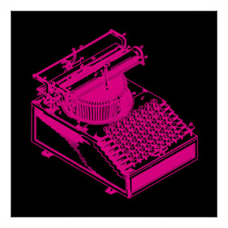 Magenta Type Writing Machine Print