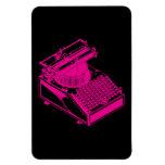 Magenta Type Writing Machine Rectangle Magnet