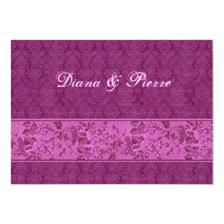 Magenta Vintage Brocade Wedding F627 5x7 Paper Invitation Card