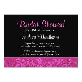 Magenta Vintage Floral Ribbon Bridal Shower 5x7 Paper Invitation Card