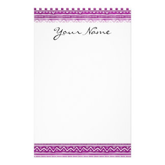 Magenta Watercolor Abstract Aztec Tribal Pattern Customized Stationery