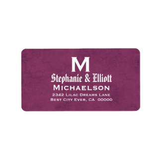 Magenta Wedding Monogram Personalized A04 Label
