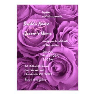 Magenta Wedding Rose Bouquet 5x7 Paper Invitation Card