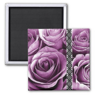 MAGENTA Wedding Rose Bouquet with Lace 2 Inch Square Magnet